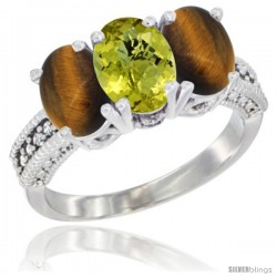14K White Gold Natural Lemon Quartz & Tiger Eye Sides Ring 3-Stone 7x5 mm Oval Diamond Accent