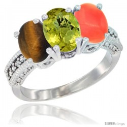 14K White Gold Natural Tiger Eye, Lemon Quartz & Coral Ring 3-Stone 7x5 mm Oval Diamond Accent