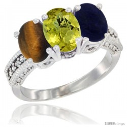 14K White Gold Natural Tiger Eye, Lemon Quartz & Lapis Ring 3-Stone 7x5 mm Oval Diamond Accent