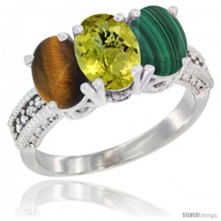 14K White Gold Natural Tiger Eye, Lemon Quartz & Malachite Ring 3-Stone 7x5 mm Oval Diamond Accent