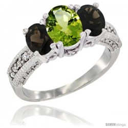 14k White Gold Ladies Oval Natural Peridot 3-Stone Ring with Smoky Topaz Sides Diamond Accent