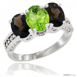 14K White Gold Natural Peridot & Smoky Topaz Ring 3-Stone 7x5 mm Oval Diamond Accent