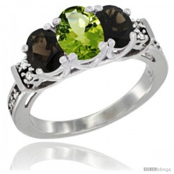 14K White Gold Natural Peridot & Smoky Topaz Ring 3-Stone Oval with Diamond Accent