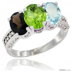 14K White Gold Natural Smoky Topaz, Peridot & Aquamarine Ring 3-Stone 7x5 mm Oval Diamond Accent