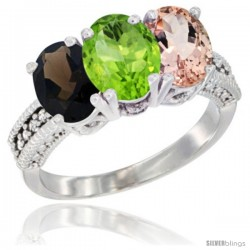 14K White Gold Natural Smoky Topaz, Peridot & Morganite Ring 3-Stone 7x5 mm Oval Diamond Accent