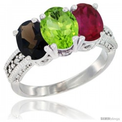 14K White Gold Natural Smoky Topaz, Peridot & Ruby Ring 3-Stone 7x5 mm Oval Diamond Accent