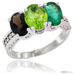 14K White Gold Natural Smoky Topaz, Peridot & Emerald Ring 3-Stone 7x5 mm Oval Diamond Accent