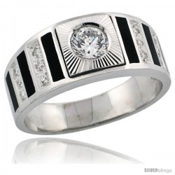 Sterling Silver Men's Striped Solitaire Ring Band Brilliant Cut CZ Stones, 3/8 in (9 mm) wide
