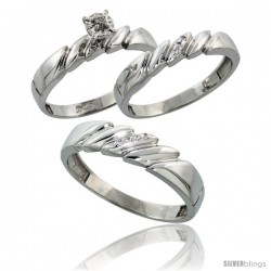 Sterling Silver 3-Piece Trio His (5mm) & Hers (4mm) Diamond Wedding Band Set, w/ 0.10 Carat Brilliant Cut Diamonds