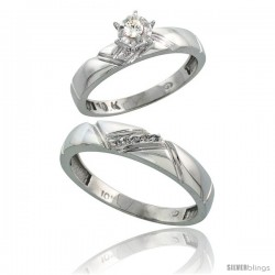 Sterling Silver 2-Piece Diamond Ring Set ( Engagement Ring & Man's Wedding Band ), w/ 0.08 Carat Brilliant Cut -Style Ag112em