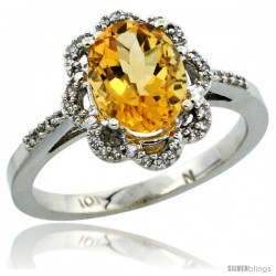 10k White Gold Diamond Halo Citrine Ring 1.65 Carat Oval Shape 9X7 mm, 7/16 in (11mm) wide