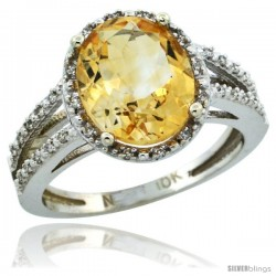 10k White Gold Diamond Halo Citrine Ring 2.85 Carat Oval Shape 11X9 mm, 7/16 in (11mm) wide