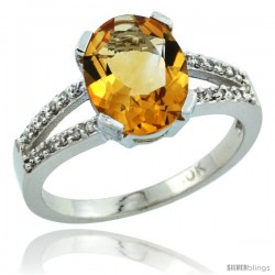 10k White Gold and Diamond Halo Citrine Ring 2.4 carat Oval shape 10X8 mm, 3/8 in (10mm) wide