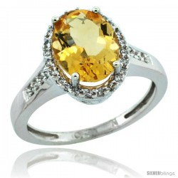 10k White Gold Diamond Citrine Ring 2.4 ct Oval Stone 10x8 mm, 1/2 in wide
