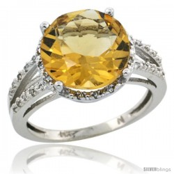 10k White Gold Diamond Citrine Ring 5.25 ct Round Shape 11 mm, 1/2 in wide