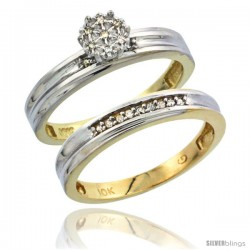 10k Yellow Gold Diamond Engagement Rings Set 2-Piece 0.07 cttw Brilliant Cut, 1/8 in wide