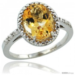 10k White Gold Diamond Citrine Ring 2.4 ct Oval Stone 10x8 mm, 1/2 in wide -Style Cw909111