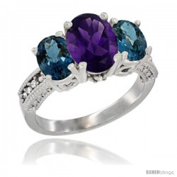 10K White Gold Ladies Natural Amethyst Oval 3 Stone Ring with London Blue Topaz Sides Diamond Accent