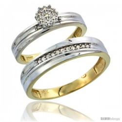10k Yellow Gold Diamond Engagement Rings 2-Piece Set for Men and Women 0.09 cttw Brilliant Cut, 5 mm & 3 mm wide