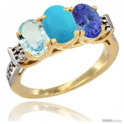 10K Yellow Gold Natural Aquamarine, Turquoise & Tanzanite Ring 3-Stone Oval 7x5 mm Diamond Accent