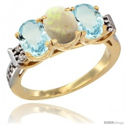 10K Yellow Gold Natural Opal & Aquamarine Sides Ring 3-Stone Oval 7x5 mm Diamond Accent