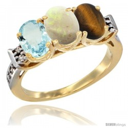10K Yellow Gold Natural Aquamarine, Opal & Tiger Eye Ring 3-Stone Oval 7x5 mm Diamond Accent