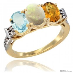10K Yellow Gold Natural Aquamarine, Opal & Whisky Quartz Ring 3-Stone Oval 7x5 mm Diamond Accent