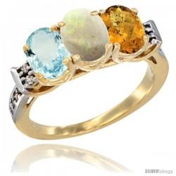 10K Yellow Gold Natural Aquamarine, Opal & Whisky Quartz Ring 3-Stone Oval 7x5 mm Diamond Accent