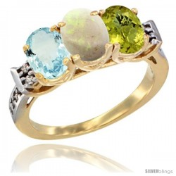 10K Yellow Gold Natural Aquamarine, Opal & Lemon Quartz Ring 3-Stone Oval 7x5 mm Diamond Accent