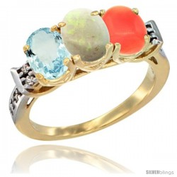 10K Yellow Gold Natural Aquamarine, Opal & Coral Ring 3-Stone Oval 7x5 mm Diamond Accent