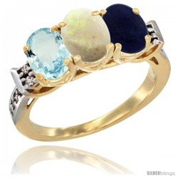 10K Yellow Gold Natural Aquamarine, Opal & Lapis Ring 3-Stone Oval 7x5 mm Diamond Accent