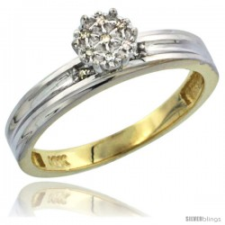 10k Yellow Gold Diamond Engagement Ring 0.05 cttw Brilliant Cut, 1/8 in wide