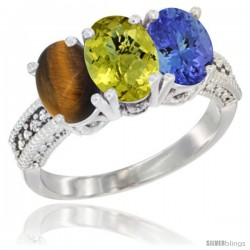 14K White Gold Natural Tiger Eye, Lemon Quartz & Tanzanite Ring 3-Stone 7x5 mm Oval Diamond Accent
