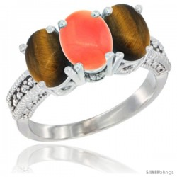 14K White Gold Natural Coral & Tiger Eye Sides Ring 3-Stone 7x5 mm Oval Diamond Accent