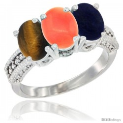 14K White Gold Natural Tiger Eye, Coral & Lapis Ring 3-Stone 7x5 mm Oval Diamond Accent