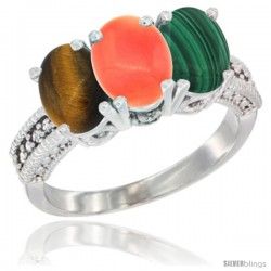 14K White Gold Natural Tiger Eye, Coral & Malachite Ring 3-Stone 7x5 mm Oval Diamond Accent