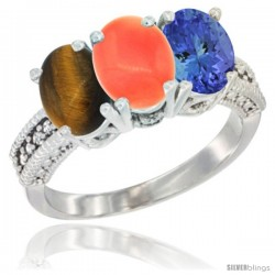 14K White Gold Natural Tiger Eye, Coral & Tanzanite Ring 3-Stone 7x5 mm Oval Diamond Accent
