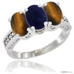 14K White Gold Natural Lapis & Tiger Eye Sides Ring 3-Stone 7x5 mm Oval Diamond Accent