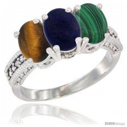 14K White Gold Natural Tiger Eye, Lapis & Malachite Ring 3-Stone 7x5 mm Oval Diamond Accent