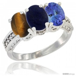 14K White Gold Natural Tiger Eye, Lapis & Tanzanite Ring 3-Stone 7x5 mm Oval Diamond Accent