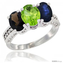 14K White Gold Natural Smoky Topaz, Peridot & Blue Sapphire Ring 3-Stone 7x5 mm Oval Diamond Accent