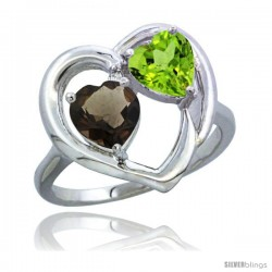 14k White Gold 2-Stone Heart Ring 6mm Natural Smoky Topaz & Peridot Diamond Accent