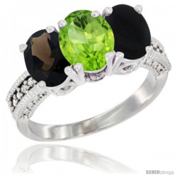 14K White Gold Natural Smoky Topaz, Peridot & Black Onyx Ring 3-Stone 7x5 mm Oval Diamond Accent