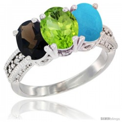 14K White Gold Natural Smoky Topaz, Peridot & Turquoise Ring 3-Stone 7x5 mm Oval Diamond Accent