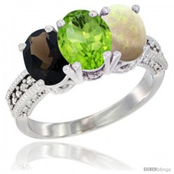 14K White Gold Natural Smoky Topaz, Peridot & Opal Ring 3-Stone 7x5 mm Oval Diamond Accent