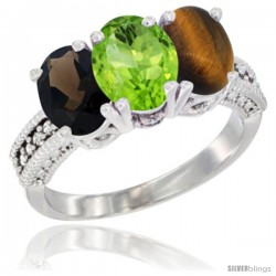 14K White Gold Natural Smoky Topaz, Peridot & Tiger Eye Ring 3-Stone 7x5 mm Oval Diamond Accent