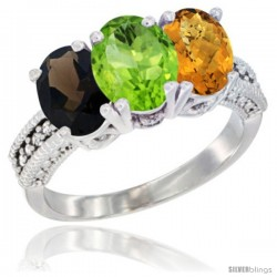 14K White Gold Natural Smoky Topaz, Peridot & Whisky Quartz Ring 3-Stone 7x5 mm Oval Diamond Accent