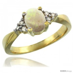 14k Yellow Gold Ladies Natural Opal Ring oval 7x5 Stone Diamond Accent -Style Cy420168