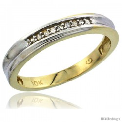10k Yellow Gold Ladies Diamond Wedding Band Ring 0.02 cttw Brilliant Cut, 1/8 in wide