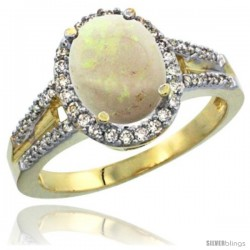 14k Yellow Gold Ladies Natural Opal Ring oval 10x8 Stone Diamond Accent
